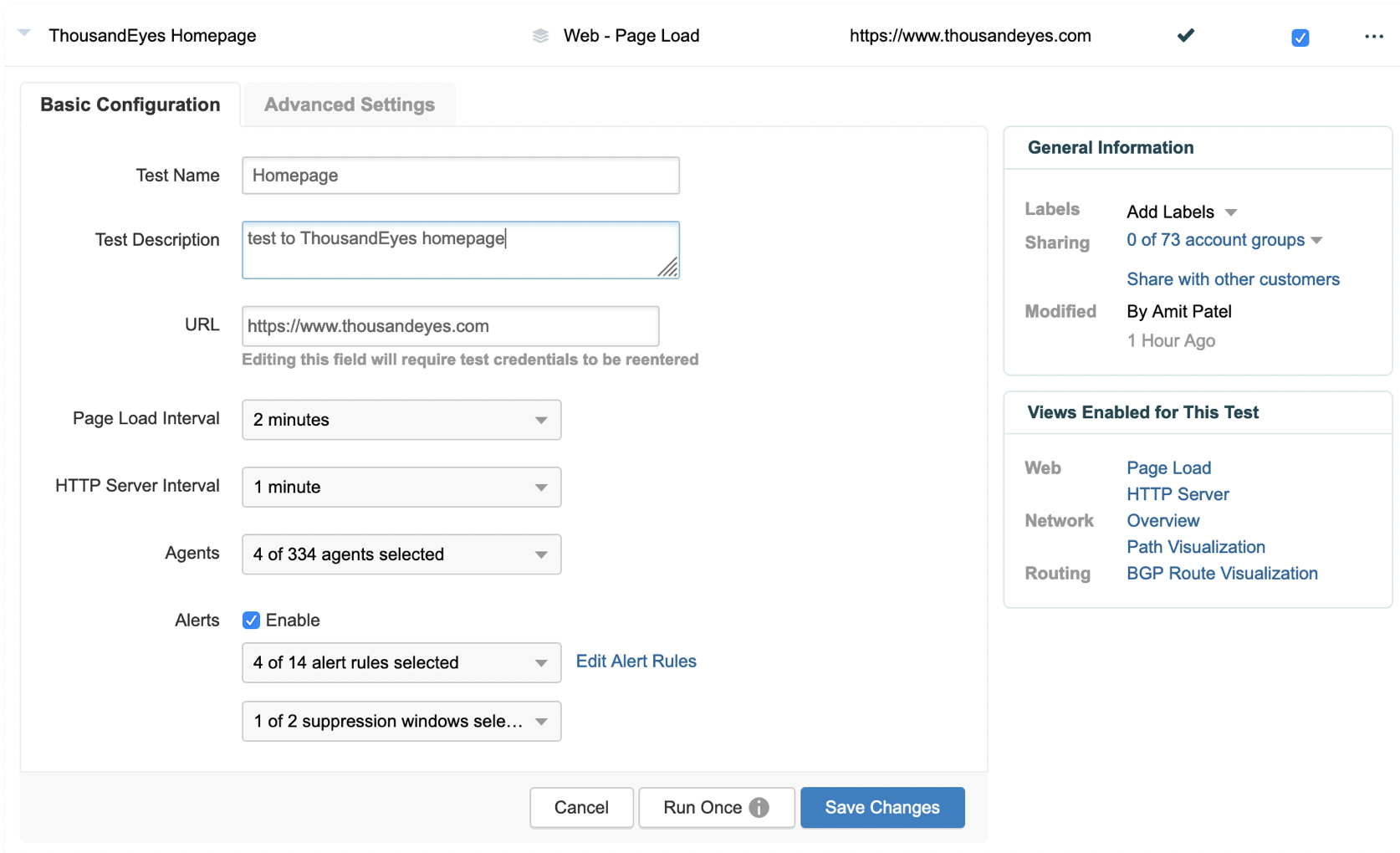 Working with Test settings - ThousandEyes Customer Success
